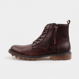 Herilios Ankle Length Zip Brown Boots With Rubber Soles (H4205G17)