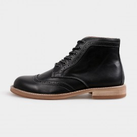 Herilios Gradient Oxford Ankle Black Boots With Hollow Patterns (H4205G18)