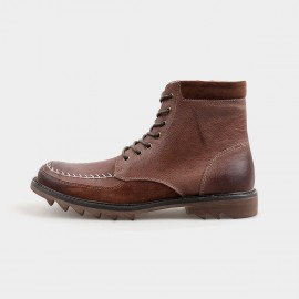Herilios Hiker Style Ankle Length Zip Brown Boots With Rubber Soles (H4205G19)