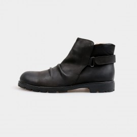 Herilios Slip In Ankle Black Boots With Adjustable Straps And Comfortable Openings (H4205G21)
