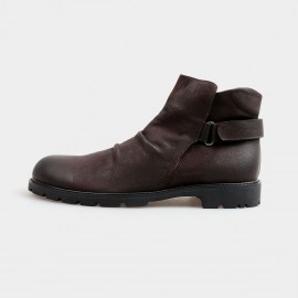 Herilios Slip In Ankle Brown Boots With Adjustable Straps And Comfortable Openings (H4205G21)
