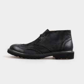 Herilios Classy Leather Desert Black Boots With Hollow Patterns (H4205G22)