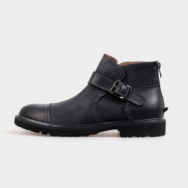Herilios Ankle Length Zip Black Boots With Buckles (H4205G28)