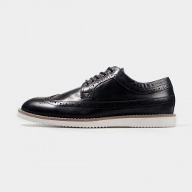 Herilios Leather Black Lace Up With Contrasting Soles (H4305D25)