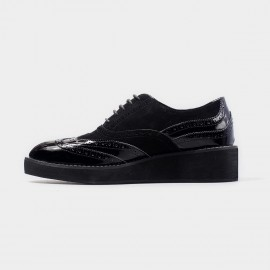 Herilios Suede And Enamel Leather Black Lace Up With Hollow Patterns And Stitched Soles (H4305D35)