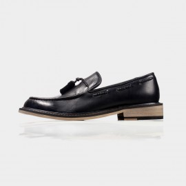 Herilios Leather Tassel Black Loafers And Reinforced Caps (H4305D43)