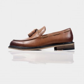 Herilios Leather Tassel Brown Loafers And Reinforced Caps (H4305D43)