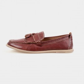 Herilios Pointed Toe Leather Tassel Brown Loafers (H4305D49)