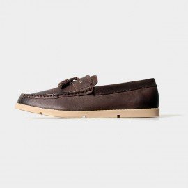 Herilios Simplicity Tassel Brown Loafers With Contrasting Soles (H5105D02)