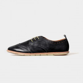 Herilios Misty Oxford Black Lace Up With Rubber Soles (H5105D11)