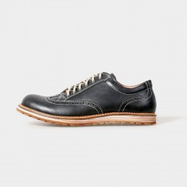 Herilios Street Chic Leather Black Lace-Up With Contrasting Stitches And Hollow Details (H5105D14)