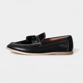 Herilios Groovy Penny Leather Black Loafers With Cross Stitches (H5105D34)