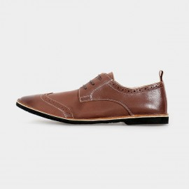 Herilios Suede Low Ankle Brown Lace-Up With Hollow Patterns And Contrasting Stitches (H5105D37)