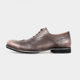 Herilios Leather Longwing Blucher Brown Lace-Up Dress Shoes (H5105D40)