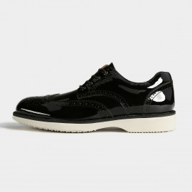 Herilios Mysterious Chic Enamel Leather Black Casual Shoes With Contrasting Soles (H5305D43)