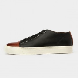 Herilios Rockin The Street Leather Cap Toe Black Casual Shoes With Elevated White Soles (H5305D49)