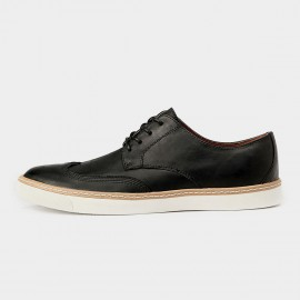 Herilios Minimalistic Chic Leather Laced Black Casual Shoes (H5305D55)