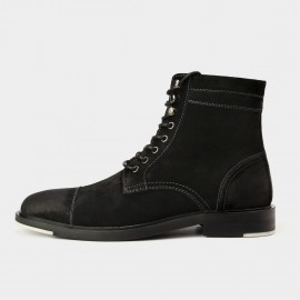 Herilios Cool Chic Suede Ankle Black Boots With White Stitches (H5305G33)