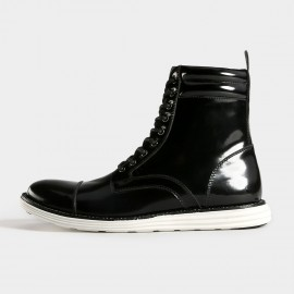 Herilios Glossy Leather Calf Length Black Boots (H5305G53)