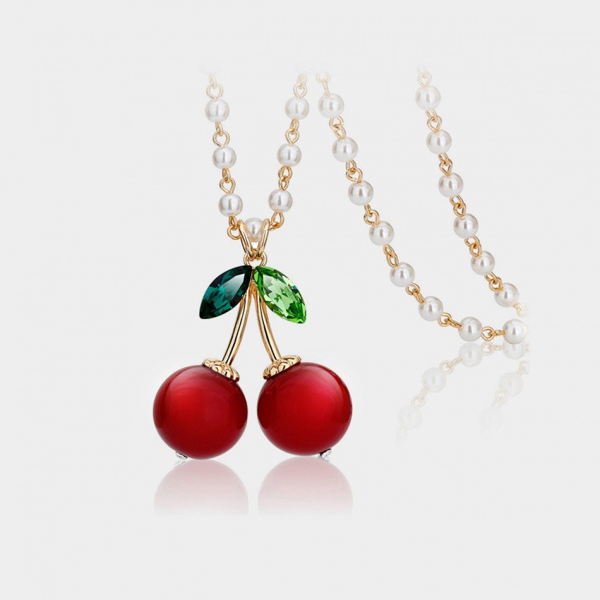 Caromay Sweet Cherry Rose Gold Long Chain (X0384)