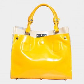 Cannci Two-Tone Leather Yellow Tote Bag (50915)