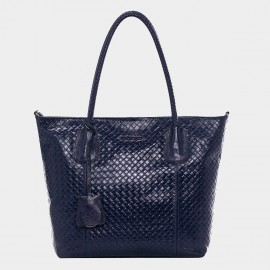 Cannci Basket Weave Pattern Leather Navy Tote Bag (A11427)