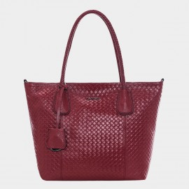 Cannci Basket Weave Pattern Leather Wine Tote Bag (A11427)