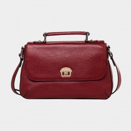 Cannci Textured Leather Red Satchel (B11372)