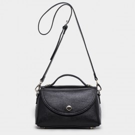 Cannci Magnetic Clasp Leather Black Satchel (B11442)