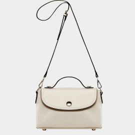 Cannci Magnetic Clasp Leather Cream Satchel (B11442)