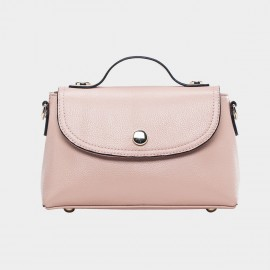 Cannci Magnetic Clasp Leather Pink Satchel (B11442)