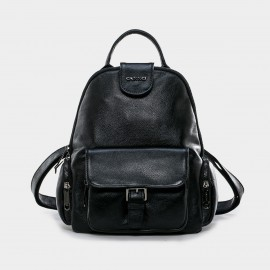 Cannci Top-Handle Leather Black Backpack (D11485)