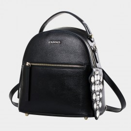 Cannci Faux Crystal Bead Leather Black Backpack (H11470)