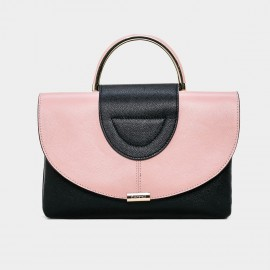 Cannci Metal Handle Leather Pink Satchel (H11477)