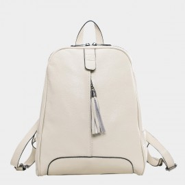 Cannci Fringe Accent Leather Cream Backpack (M11459)