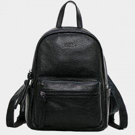Cannci Textured Leather Black Backpack (M11473)