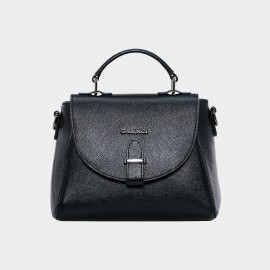 Cannci Strapped Flap Leather Black Satchel (M11500)