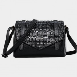 Cannci Embossing Pattern Leather Black Satchel (M11510)
