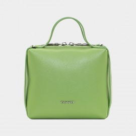 Cannci Square-Shaped Leather Apple Green Top Handle Bag (O11513)