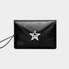 Cannci Leather Big Star Envelope Black Handbag (O21493)