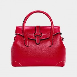 Cannci Strap Accent Leather Red Top Handle Bag (Y11503)