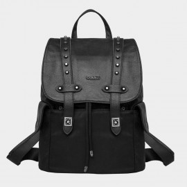Cannci Strapped Flap Round Stud Oxford Black Backpack (D11476)