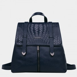 Cannci Mixed Basket Weave Pattern Leather Navy Backpack (M11202)