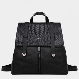 Cannci Mixed Basket Weave Pattern Leather Black Backpack (M11202)
