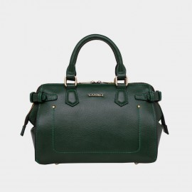 Cannci Exposed U-Seam Folded Base Leather Green Top Handle (H11623)