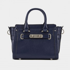 Cannci Adjustable Twist Lock Strap Leather Navy Top Handle (H11606-S)