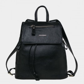 Cannci Classic Zippered Flap Top Leather Black Backpack (D11477)