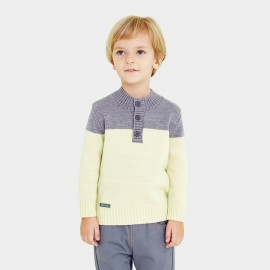 Pepevega Buttoned Neck Grey Knit (A54BS613)