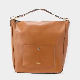 Jessie & Jane Snap Button Leather Brown Top Handle (TMJ15FF1020)