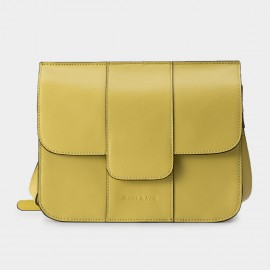 Jessie & Jane Seamed Messenger Leather Yellow Satchel (TMJ15SF1066)